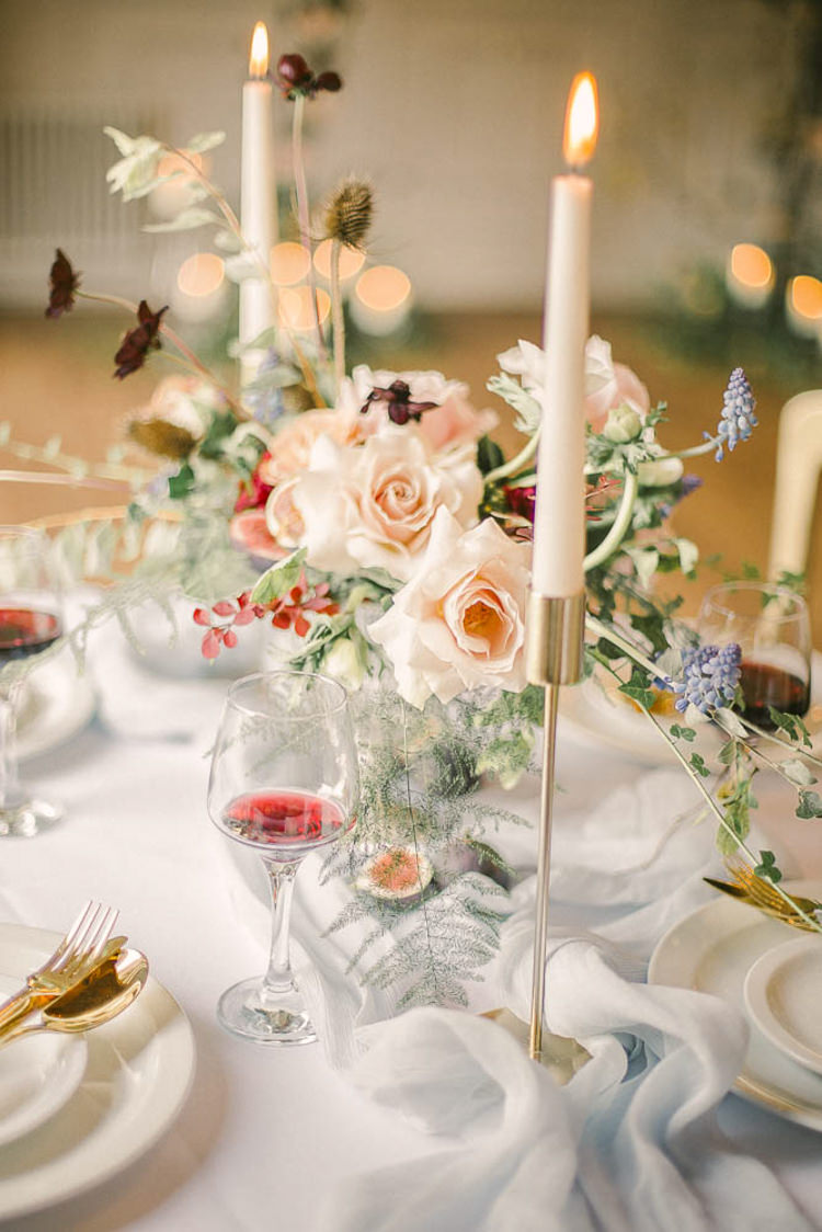 Flowers Centrepiece Candles Tables Blush Masarla Oxblood Silk Beautiful Fine Art Country House Wedding Ideas https://www.theblushingpeony.co.uk/