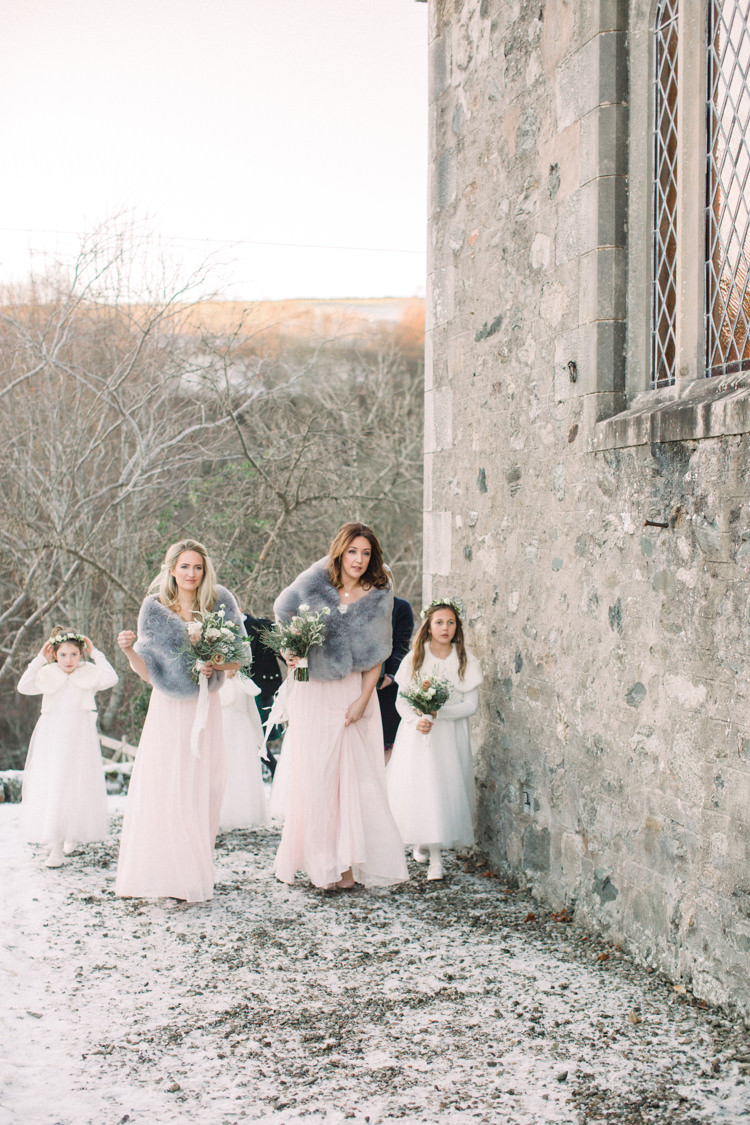 Bridesmaids Flower Girls Pink Dress Blush Grey Faux Fur Stole Full Length Enchanted Magical Snowy Wedding https://www.thegibsonsphotography.co.uk/