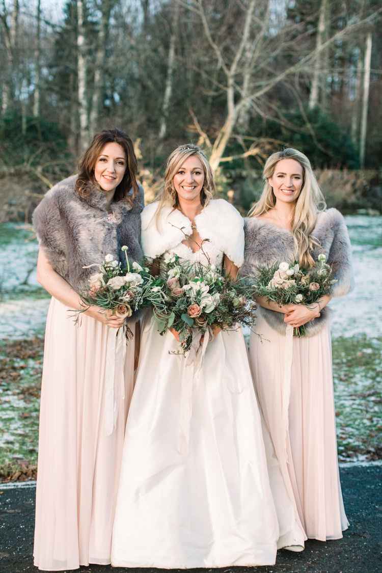 Bride Bridal Sweetheart Neckline Hair Piece Lace A Line Faux Fur Stole Cape Bridesmaids Dessy Pink Blush Dress Floor Length Fur Stole Cape Flower Girls Enchanted Magical Snowy Wedding https://www.thegibsonsphotography.co.uk/