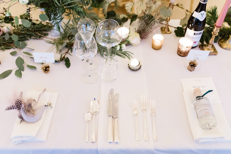 Table Setting Tablescape Pastel Candlestick Foliage Eucalyptus Enchanted Magical Snowy Wedding https://www.thegibsonsphotography.co.uk/