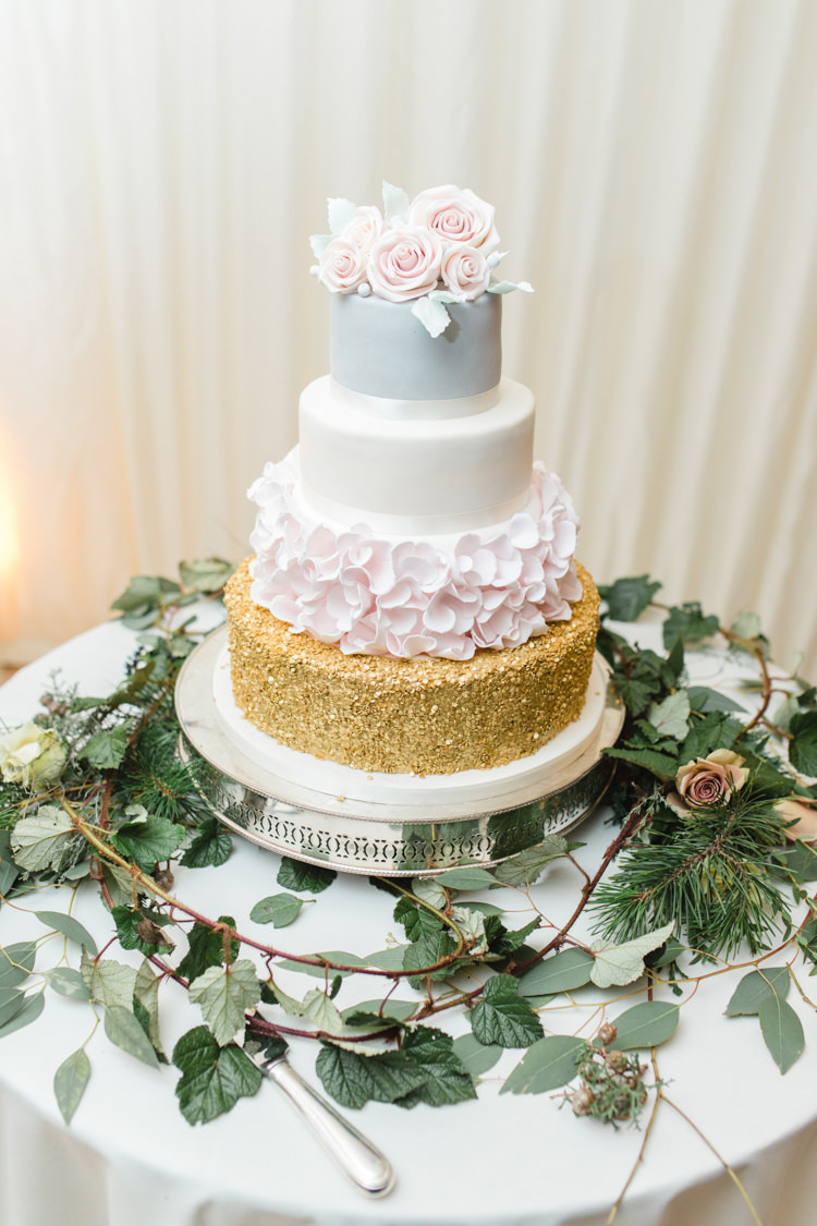 Cake Table Gold Pastel Sugar Rose Sparkly Grey Stand Foliage Enchanted Magical Snowy Wedding https://www.thegibsonsphotography.co.uk/
