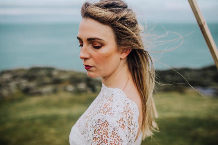 Bride Bridal Make Up Beauty Ocean Clifftop Elopement Wedding Ideas North Wales https://www.claracooperphotography.com/