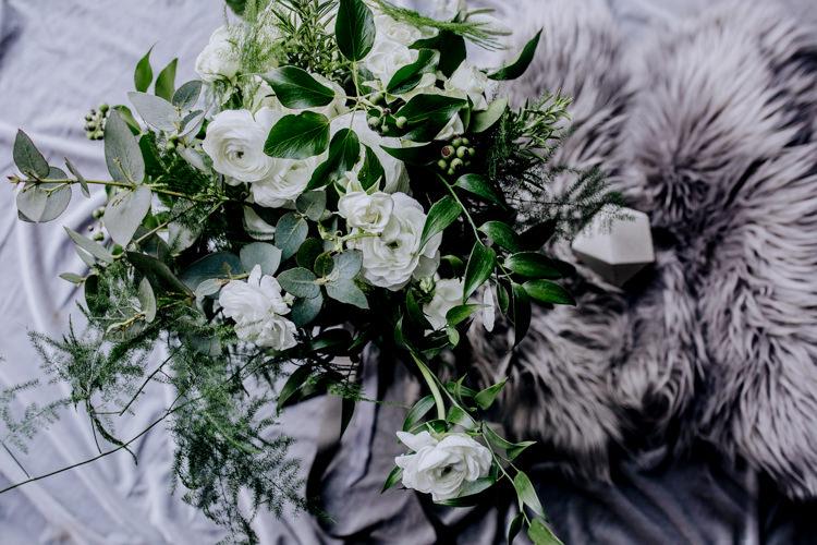 Bouquet Greenery Foliage White Flowers Bride Bridal Ocean Clifftop Elopement Wedding Ideas North Wales https://www.claracooperphotography.com/