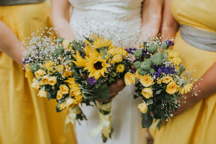 Field Outdoor Garden Woodland Hippie Summer Yellow Sunflower Gyp Bouquet | Happy Outdoor Forest Mustard Yellow Wedding http://suzi-photography.com/