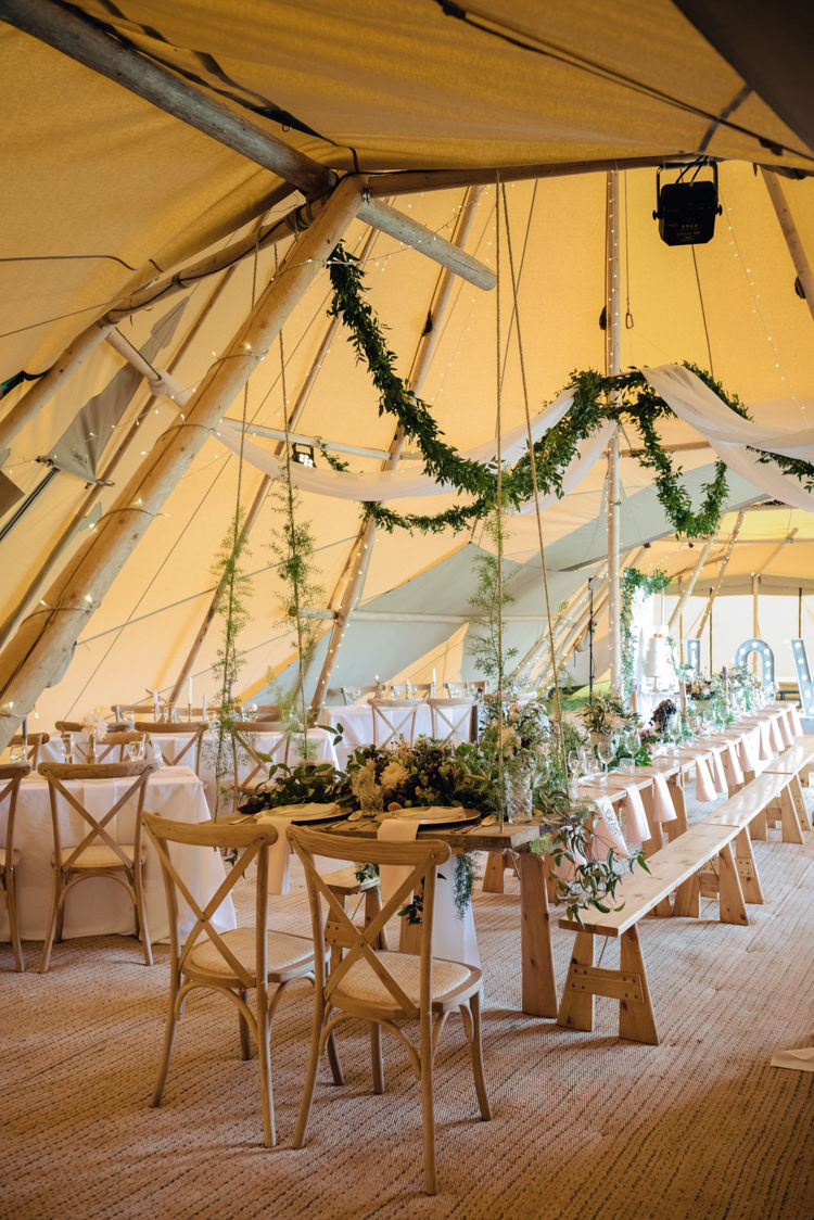 Greenery Foliage Swags Suspended Hanging Long Tables Pretty Blush Floral Tipi Wedding Ideas https://www.sarahvivienne.co.uk/