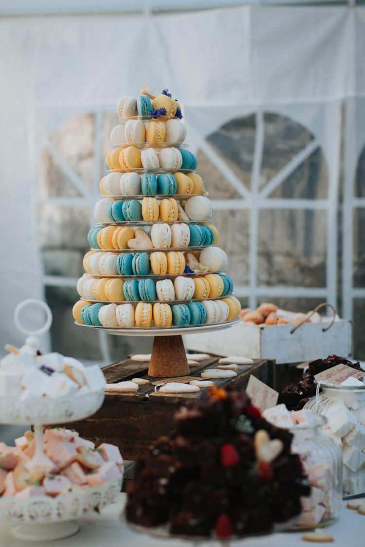 Macaron Tower Blue Yellow Rustic Homespun Country Chapel Barn Wedding Sussex http://www.olegssamsonovsphotography.com/