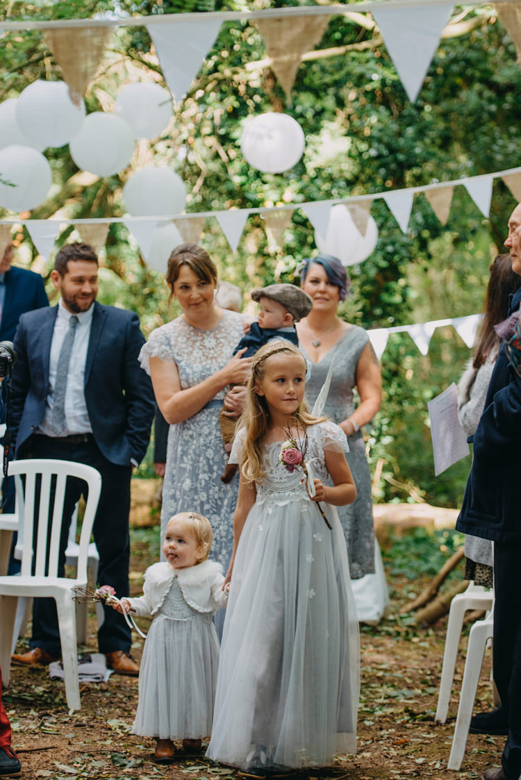 Flowergirl Monsoon Grey Lace Wand Wings Bunting Paper Lanterns Magical Woodland Family Wedding http://photographybyclare.co.uk/