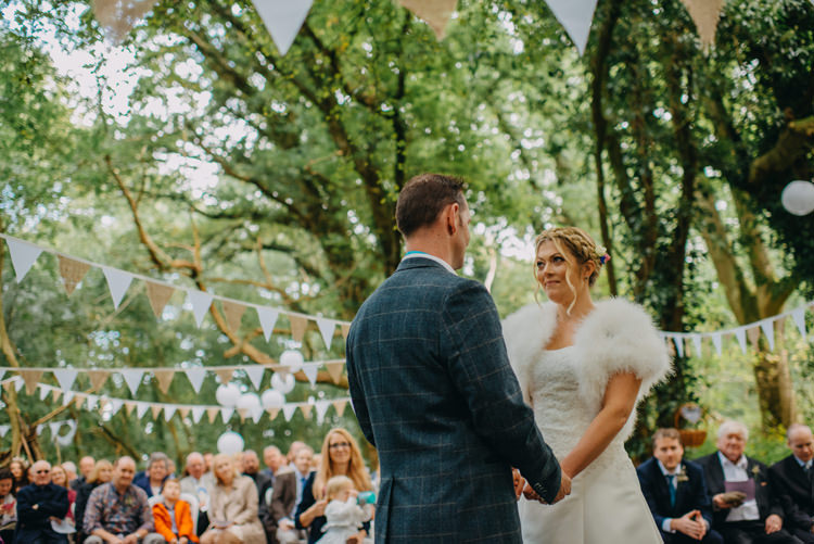 Bride Bridal Gown Dress Bolero Strapless Halo Braid Hairstyle Blue Checked Groom Cravat Three Piece Waistcoat Bunting Paper Lanterns Magical Woodland Family Wedding http://photographybyclare.co.uk/