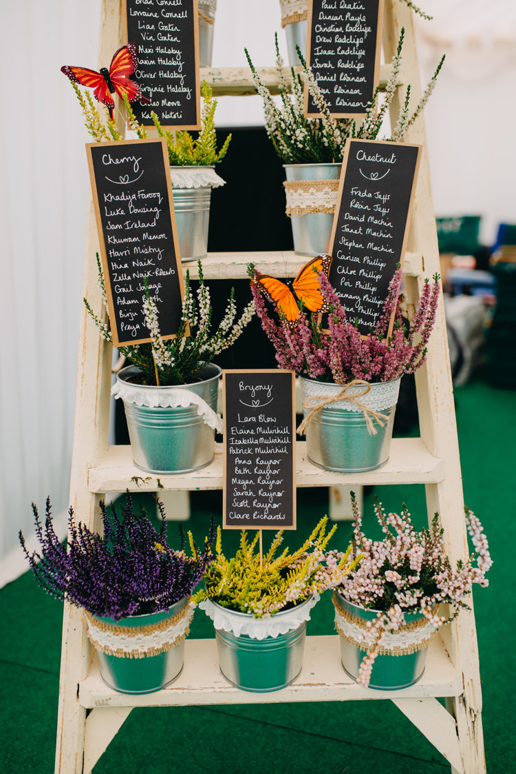 Table Plan Seating Chart Mini Blackboards Steel Buckets Tin Plants Stepladder Magical Woodland Family Wedding http://photographybyclare.co.uk/