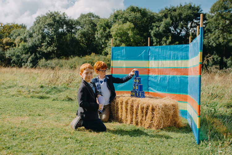 Tin Can Alley Hay Bale Lawn Games Magical Woodland Family Wedding http://photographybyclare.co.uk/