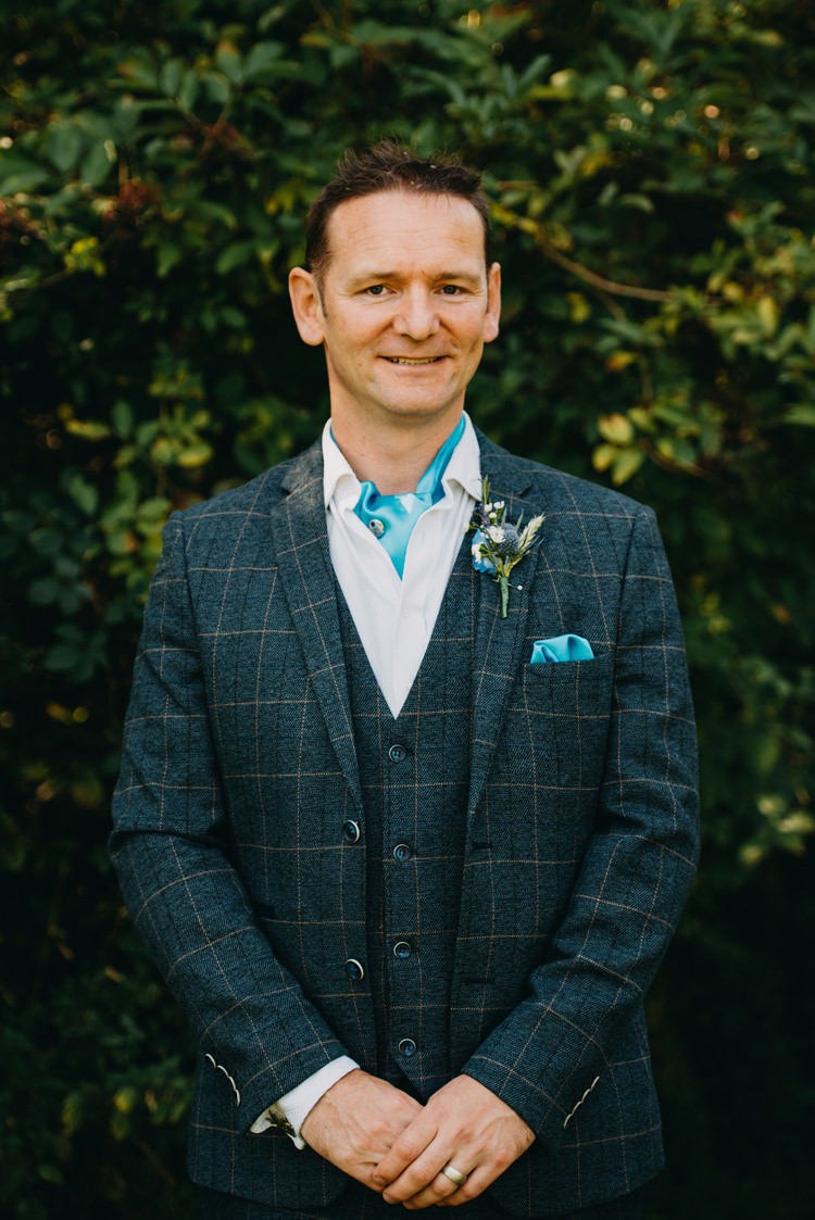Blue Checked Three Piece Suit Groom Cravat Waistcoat Magical Woodland Family Wedding http://photographybyclare.co.uk/
