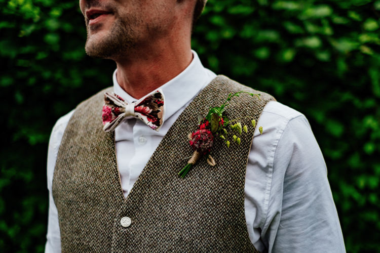 Tweed Groom Bespoke Waistcoat Floral Bow Tie Buttonhole Boho DIY Secret Garden Wedding https://bibandtuckerphotography.co.uk/