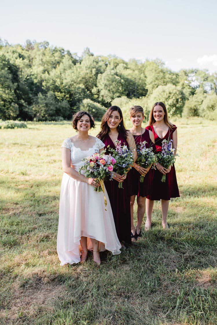 Outdoor Field Forest Wild Nature Marquee Tipi Bride Bridesmaids Group Burgundy Dresses | Breathtaking Secluded Back Garden Open Sided Tent Wedding Vermont https://kickasscouples.com/