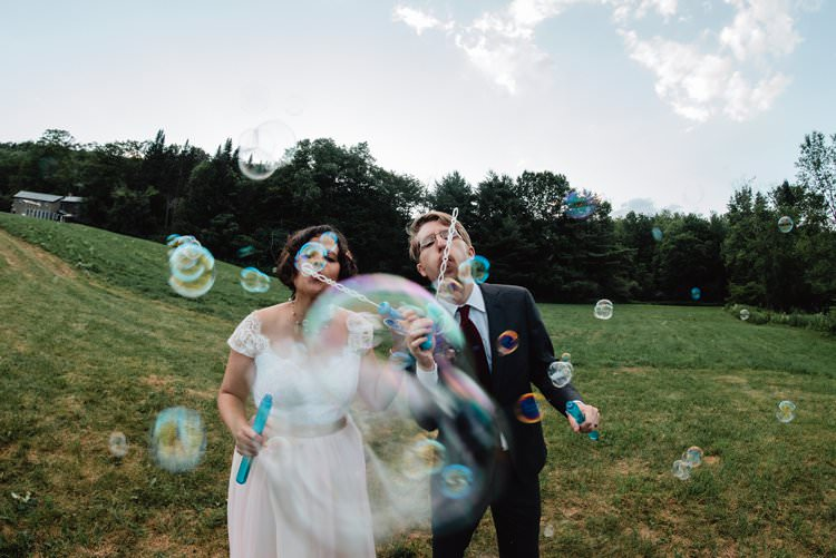 Outdoor Field Forest Wild Nature Marquee Tipi Bride Groom Bubbles Fun Quirky | Breathtaking Secluded Back Garden Open Sided Tent Wedding Vermont https://kickasscouples.com/