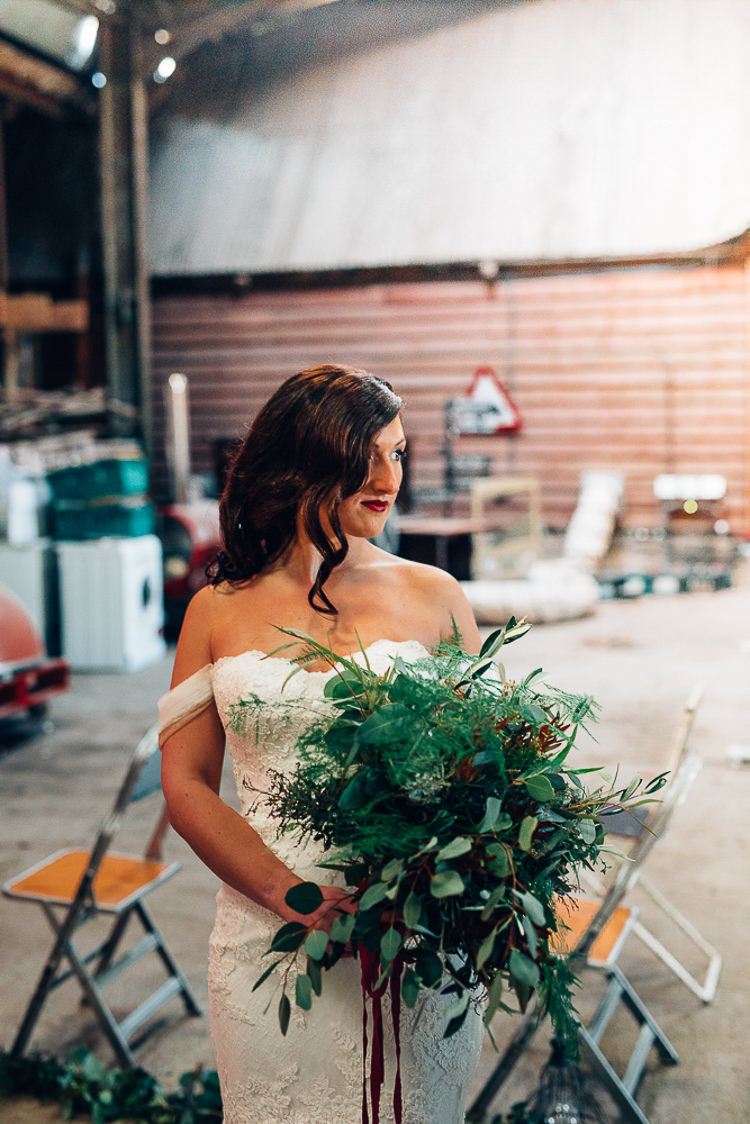 Bouquet Foliage Flowers Large Wild Bride Bridal Edgy Raw Industrial Barn Wedding Ideas Greenery Festoon Lights http://www.two-d.co.uk/