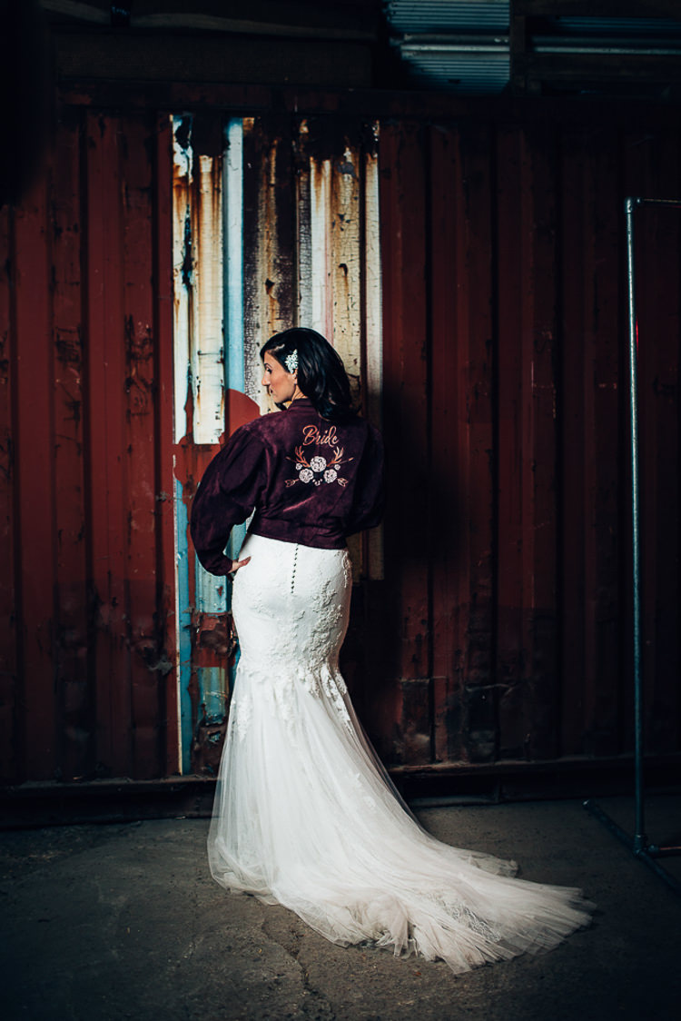 Jacket Bride Bridal Embroidered Edgy Raw Industrial Barn Wedding Ideas Greenery Festoon Lights http://www.two-d.co.uk/