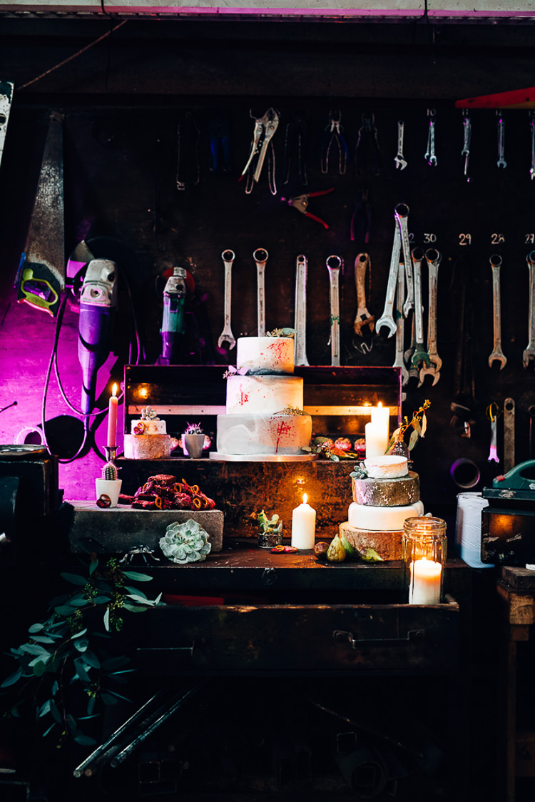 Cake Table Treats Dessert Furniture Dresser Edgy Raw Industrial Barn Wedding Ideas Greenery Festoon Lights http://www.two-d.co.uk/