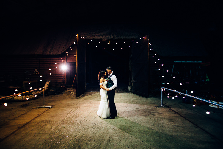 First Dance Edgy Raw Industrial Barn Wedding Ideas Greenery Festoon Lights http://www.two-d.co.uk/