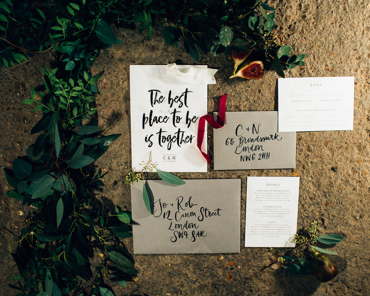 Stationery Calligraphy Lettering Invites Invitations Edgy Raw Industrial Barn Wedding Ideas Greenery Festoon Lights http://www.two-d.co.uk/