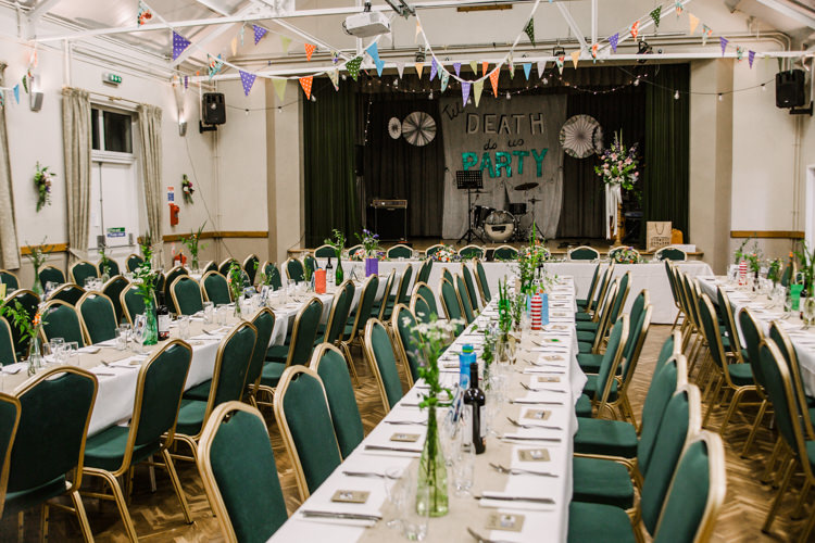 Village Hall Til Death Do Us Party Bunting Fun DIY Wedding New Walk Museum Leicester https://www.daniellefrancescaphotography.com/