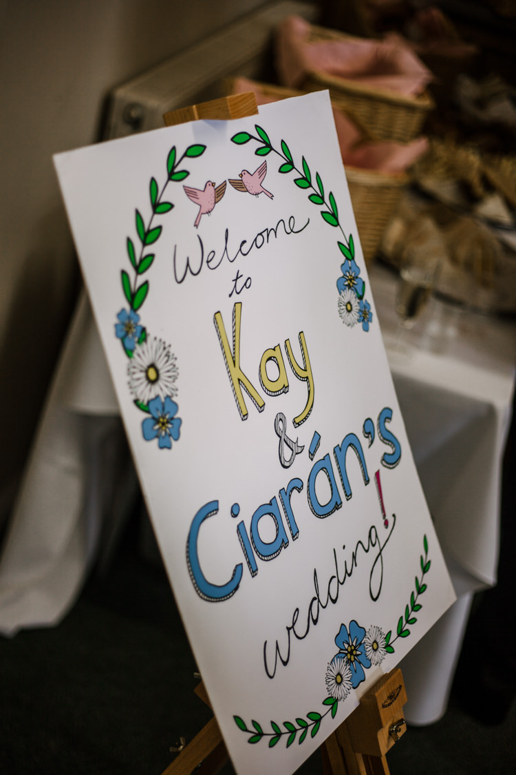 Welcome Sign Easel Hand Drawn Fun DIY Wedding New Walk Museum Leicester https://www.daniellefrancescaphotography.com/