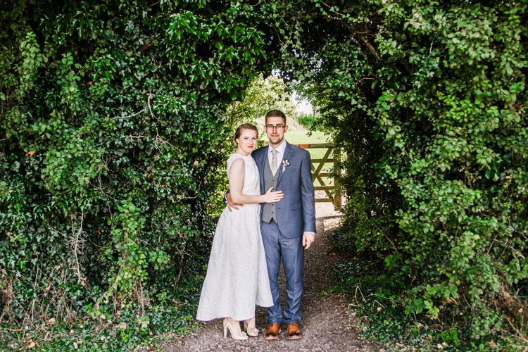 Bride Bridal Dress Gown Two Piece Crop Top Groom Grey Blue Green Three Piece Waistcoat Fun DIY Wedding New Walk Museum Leicester https://www.daniellefrancescaphotography.com/