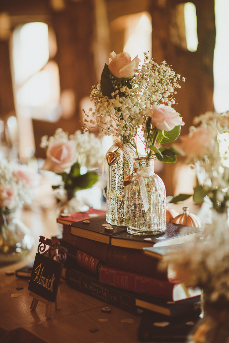Decor Decoration Bottles Books Flowers Rose Pink Gypsophila Rustic Relaxed Woodsy Alnwick Treehouse Northumberland Wedding http://www.mattpenberthy.com/