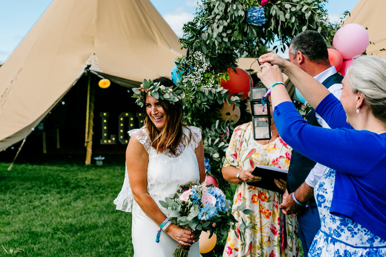 Handfasting Ceremony Outdoor Bright Fun Festival Boho Wedding The Party Field East Sussex http://epiclovestory.co.uk/