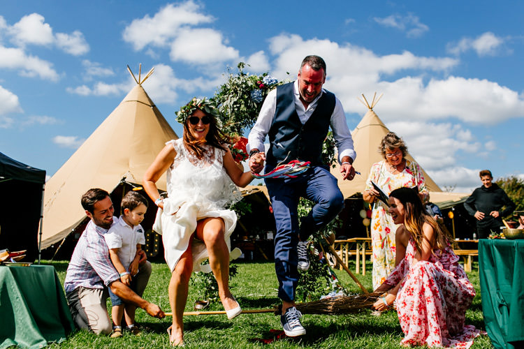 Humanist Ceremony UK Jumping Broom Bright Fun Festival Boho Wedding The Party Field East Sussex http://epiclovestory.co.uk/