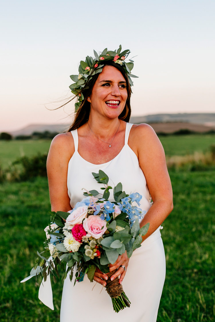 Bride Bridal Flower Crown Bouquet Pink Blue Greenery Bright Fun Festival Boho Wedding The Party Field Kent http://epiclovestory.co.uk/