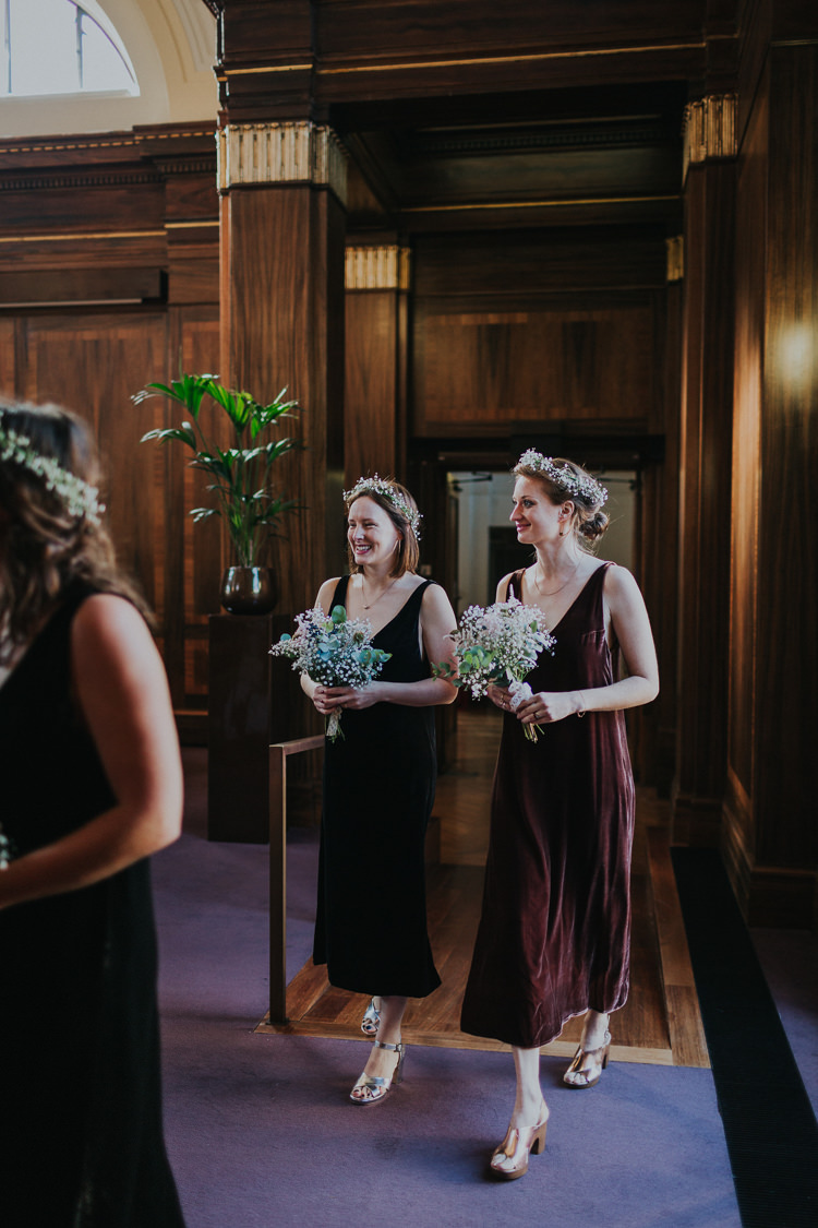 Bridesmaids Velvet Dress Bespoke V Neck Burgundy Gypsophila Flower Crown Bouquet Chilled Out Individual Simple City Wedding Stoke Newington Town Hall London The Tab Centre http://www.kategrayphotography.com/