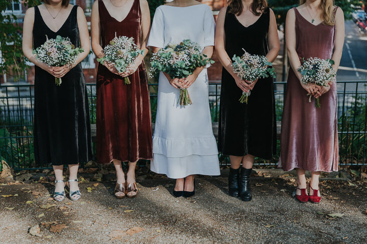Bride Bridal Gypsophila Flower Crown Bouquet Greenery Two Piece Skirt Top Velvet Mismatched Bridesmaids Burgundy Pink V Neck Velvet Chilled Out Individual Simple City Wedding Stoke Newington Town Hall London The Tab Centre http://www.kategrayphotography.com/