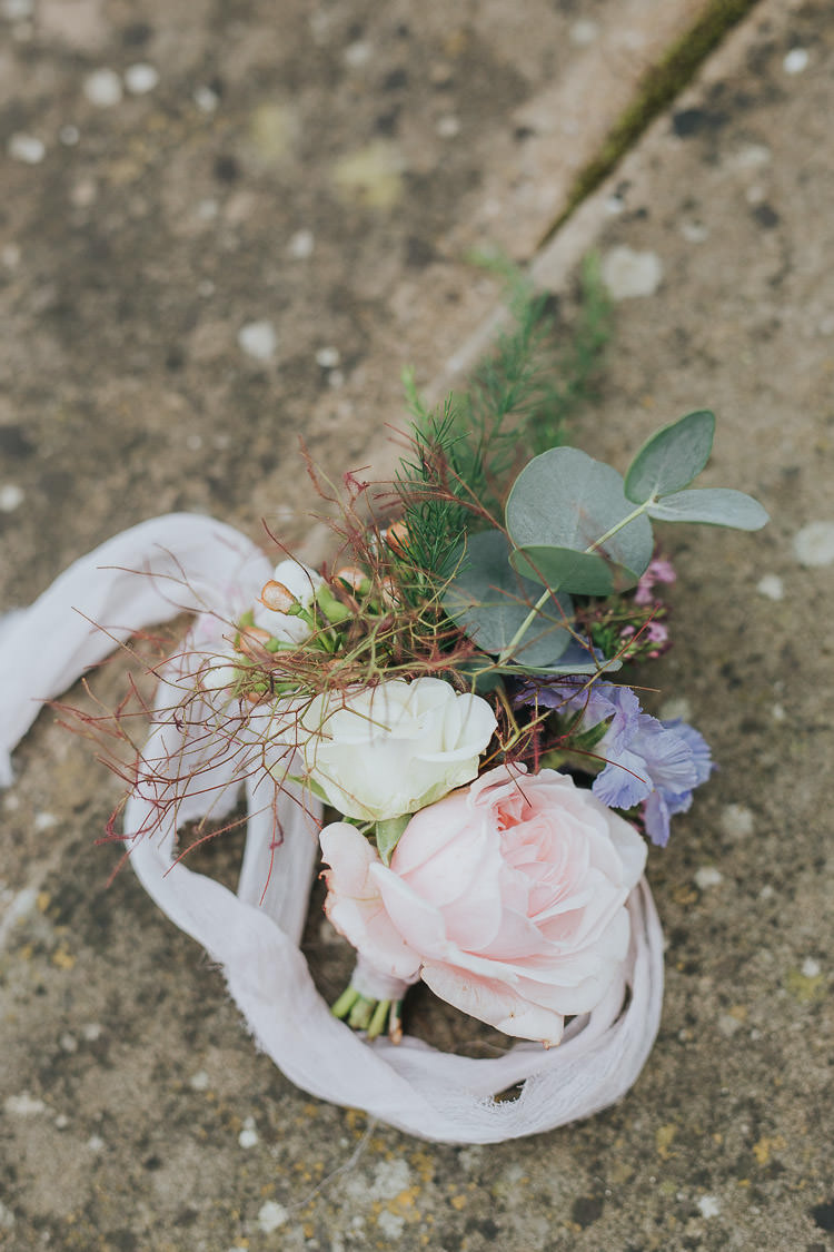 Flowers Pastel Ribbon Silk Bridesmaid Bouquet Non-Traditional Country Party Barn Wedding Yorkshire http://www.lauracalderwood.co.uk/
