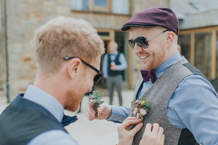 Flat Cap Bow Tie Sunglasses Groom Non-Traditional Country Party Barn Wedding Yorkshire http://www.lauracalderwood.co.uk/