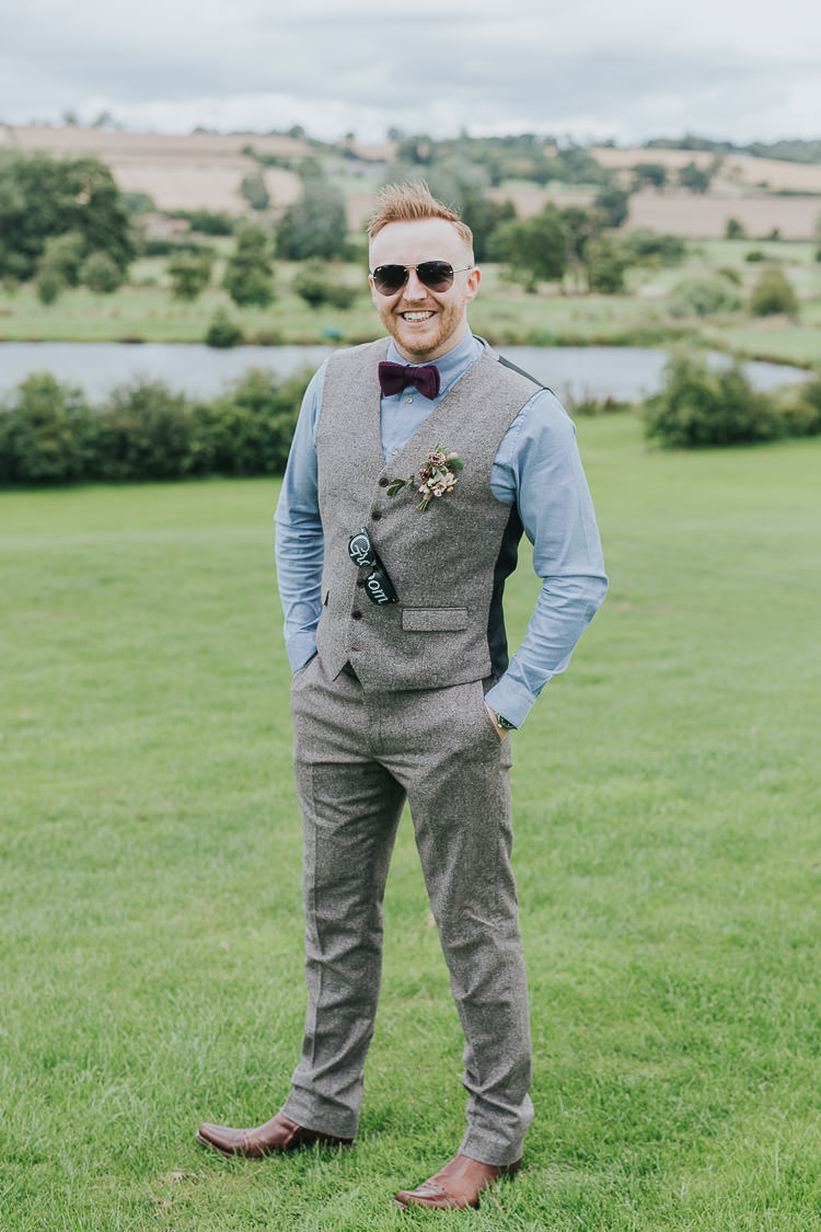 Groom Tweed Waistcoat Bow Tie Grey Non-Traditional Country Party Barn Wedding Yorkshire http://www.lauracalderwood.co.uk/