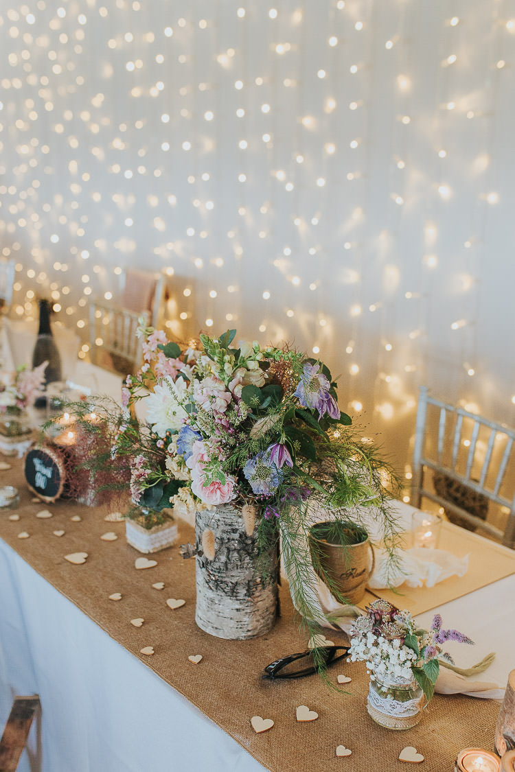 Fairy Lights Curtain Decor Hessian Tables Flowers Log Hearts Wooden Non-Traditional Country Party Barn Wedding Yorkshire http://www.lauracalderwood.co.uk/