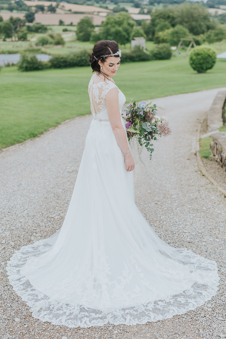 Essense of Australia Wedding Dress Lace Illusion Back Gown Bride Bridal Train Non-Traditional Country Party Barn Wedding Yorkshire http://www.lauracalderwood.co.uk/
