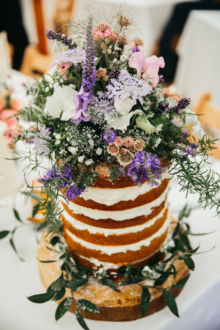 Naked Cake Wild Flowers Topper Wood Slice Base Relaxed Natural Local Country Marquee Wedding http://francescahillphotography.com/