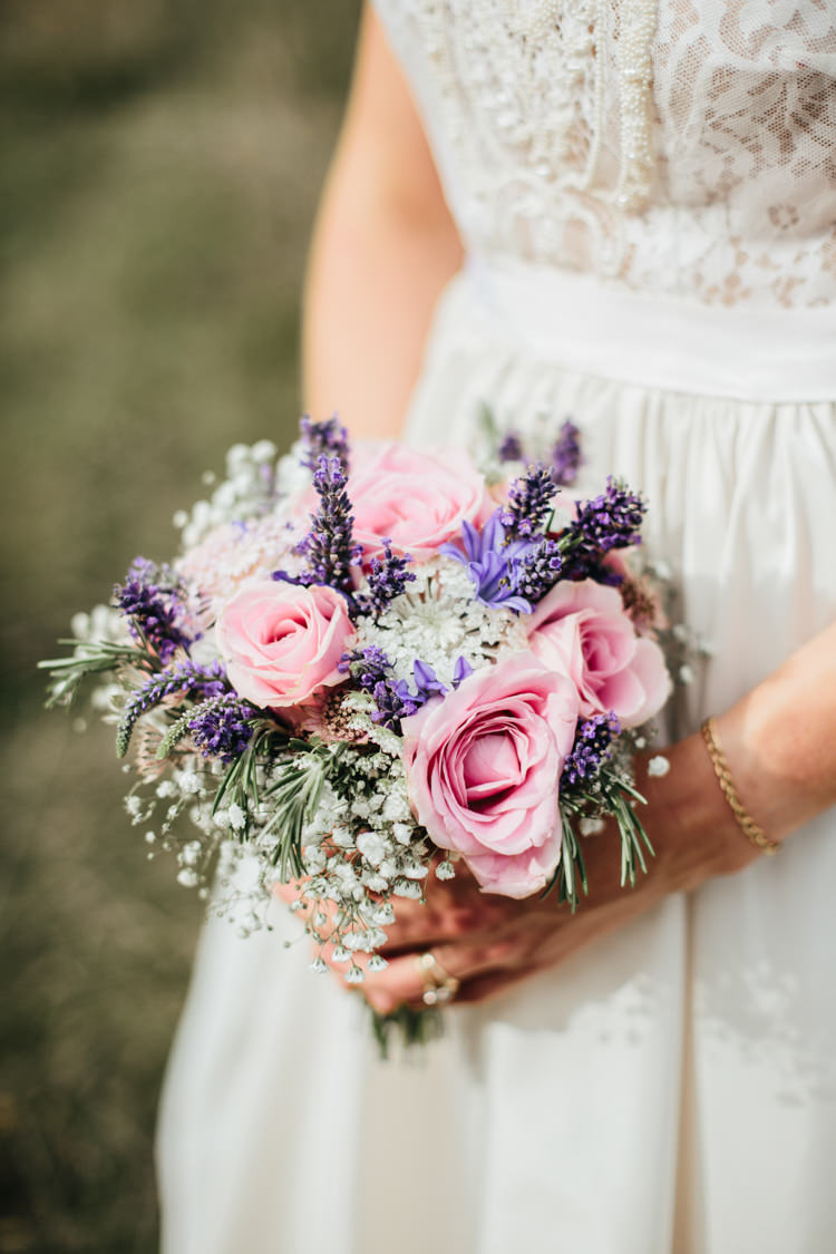 Bride Bridal Small Posy Bouquet Pink Purple Rose Lavender Gypsophila Relaxed Natural Local Country Marquee Wedding http://francescahillphotography.com/