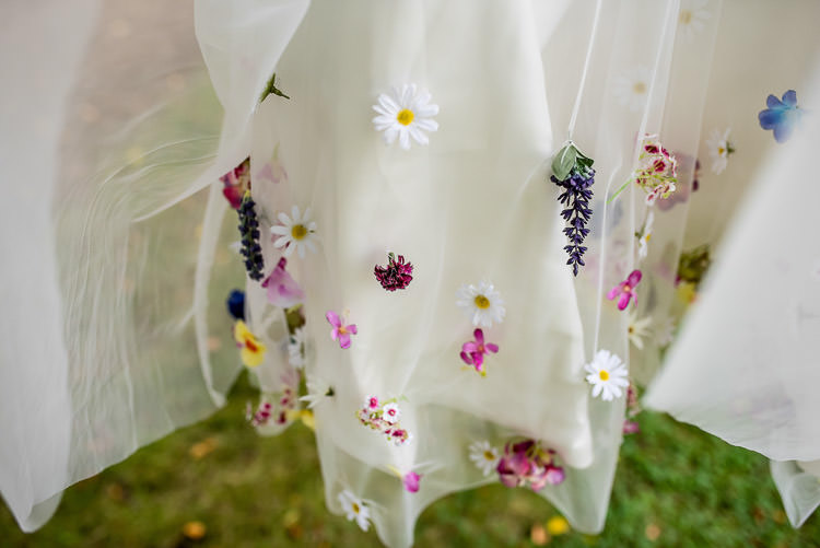 Flowers Floral Dress Gown Bride Bridal Short Mismatched Colourful Wildflower Meadow Wedding Hush Venues Norfolk http://lighteningphotography.co.uk/