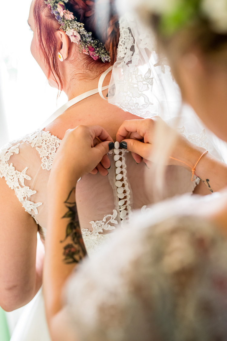 Lace Button Back Dress Gown Bride Bridal Mismatched Colourful Wildflower Meadow Wedding Hush Venues Norfolk http://lighteningphotography.co.uk/