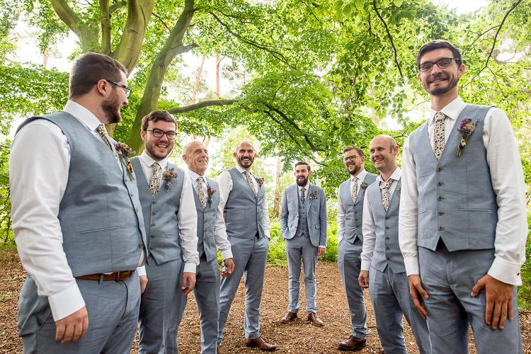 Groom Groomsmen Grey Waistcoats Floral Tie Suits Mismatched Colourful Wildflower Meadow Wedding Hush Venues Norfolk http://lighteningphotography.co.uk/