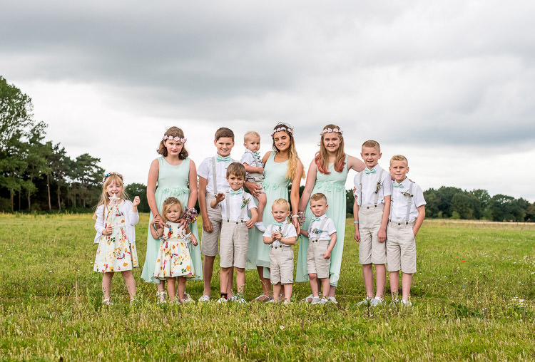 Mint Green Bridesmaid Dresses Bow Ties Braces Shorts Page Boys Mismatched Colourful Wildflower Meadow Wedding Hush Venues Norfolk http://lighteningphotography.co.uk/