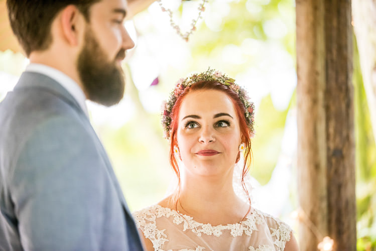 Flower Crown Make Up Bride Bridal Mismatched Colourful Wildflower Meadow Wedding Hush Venues Norfolk http://lighteningphotography.co.uk/