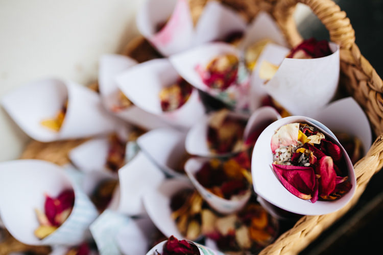 Real Dried Petals Confetti Basket Cone Relaxed Natural Local Country Marquee Wedding http://francescahillphotography.com/