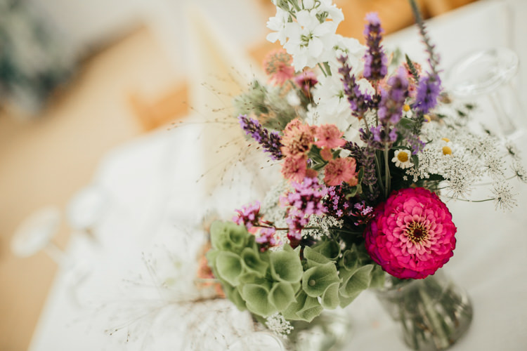 Jam Jar Flowers Daisy Lavender Gypsophila Wild Relaxed Natural Local Country Marquee Wedding http://francescahillphotography.com/