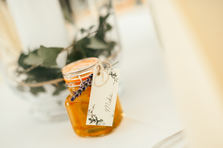 Favour Honey Lavender Tag Calligraphy Relaxed Natural Local Country Marquee Wedding http://francescahillphotography.com/