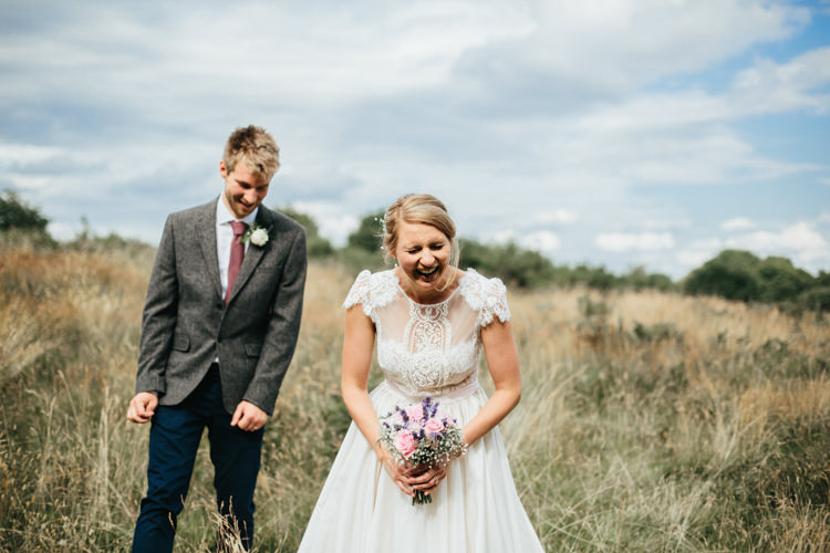 Katya Katya Shehurina Dress Cap Sleeve Lace Overlay Chinos Groom Tweed Jacket Mismatched Posy Bouquet Relaxed Natural Local Country Marquee Wedding http://francescahillphotography.com/