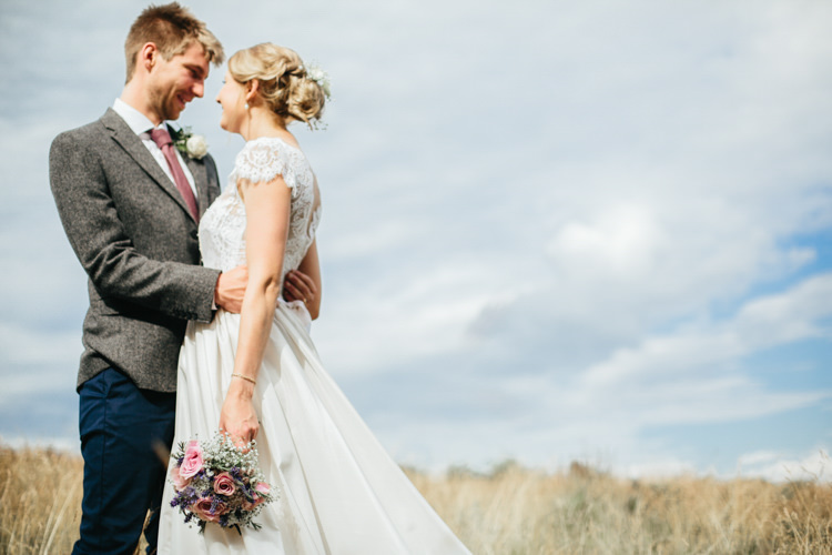 Katya Katya Shehurina Dress Cap Sleeve Lace Overlay Chinos Groom Tweed Jacket Mismatched Posy Bouquet Pink Purple Relaxed Natural Local Country Marquee Wedding http://francescahillphotography.com/