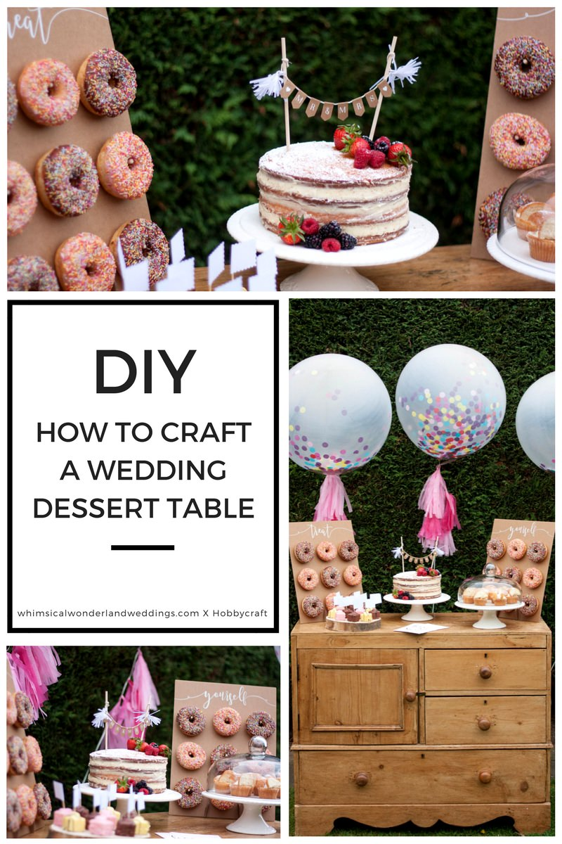 DIY Wedding Dessert Table Tutorial Cake Giant Confetti Balloons Tassels Donut Wall Naked Cake Vintage Table Dresser
